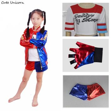 Suicide Squad Kids Halloween party Cosplay Costumes Batman Harley Quinn carnival costume embroidery Jacket+T shirt+Shorts+Glove
