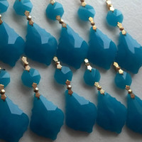 10 Opaque Turquoise Blue Chandelier Crystal Prisms, Aqua French Crystals Cotton Candy Collection, Chandelier Crystals Shabby Chic