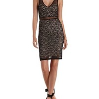 Black Lace Bodycon Midi Dress with Mesh Straps by Charlotte Russe