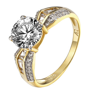 Solitaire Wedding Ring Sterling Silver 14k Gold Finish CZ Womens Wedding Promise
