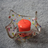 handmade fused glass candle holder made with multicolored confetii on clear glass