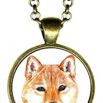 "Shiba Inu Dog 1"" Antique Bronze Gold Pendant"