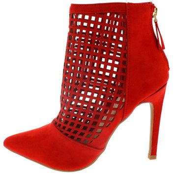 STEPPUP16 RED LASER CUT OUT POINTED ANKLE BOOT