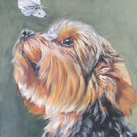 Yorkshire Terrier CANVAS print of LA Shepard dog portrait painting 8x10 yorkie dog art