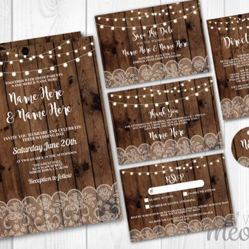 Wedding Invitations Set Template Rustic Wood Lace Lights Package Printable Invites Save The Date INSTANT DOWNLOAD Tags Personalize Editable