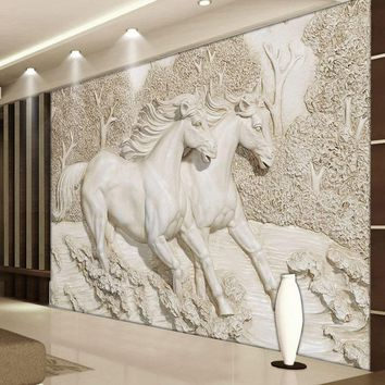 Custom Mural Wallpaper 3D Stereo Relief White Horse Photo Wall Murals Classic Living Room TV Backdrop Home Decor Wall Paintings