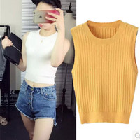 Sleeveless Knit Bodycon Cropped Vest Top