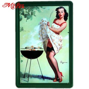 Pin-up Lady Tin sign Art  wall Festival decoration Pub Cafe Bar Party Vintage Metal Painting
