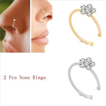 Stainless Steel Silver Gold flower Nose Open Hoop Ring Earring Body Piercing Crystal Nose Studs Women Studs 925 Fashion Jewelry