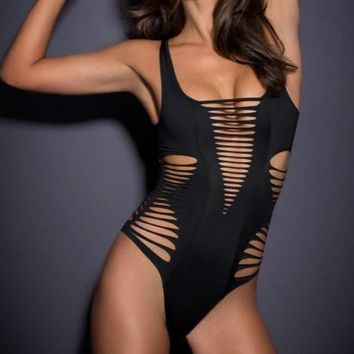 Straps Strappy Hollow Out One Piece Monokini Swimsuit