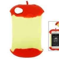 Red Apple Core 3D Cartoon Silicone Case Cover Skin for iPhone 4 4G 4S