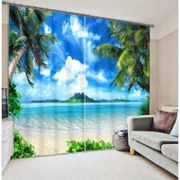 Cool Beach Digital Print 3D Blackout Curtains For Living room Bedding room Drapes Cotinas para sala
