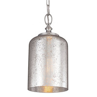 Feiss P1320PN Hounslow Polished Nickel One-Light Mini Pendant with Silver Mercury Plating Glass