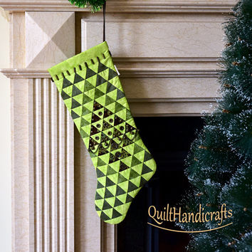 Green Christmas stocking Quilted Patchwork Christmas boot Style Shabby chic Victorian Cottage Unique gift Holiday home decoration Custom