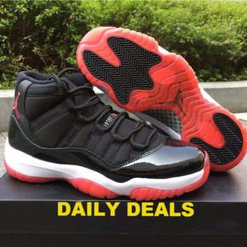 "NIKE AIR JORDAN 11 RETRO XI 2012 ""BRED"" BLACK-RED 378037-010"