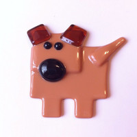 Dog Magnet - Fused Glass Magnet - Refrigerator Magnet - Gift Under 10 - Fridge Magnet - Dog Lover Gift  - Stocking Stuffer