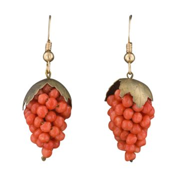 Antique Victorian Coral Grape Dangle Earrings
