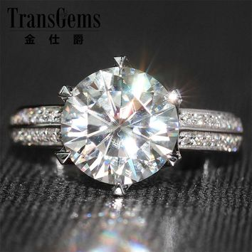 14KT White Gold 3 Carat Lab Moissanite Diamond Ring w/ Real Diamond Accent