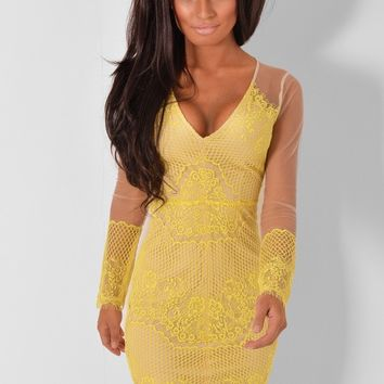 Lorreli Yellow Lace Dress | Pink Boutique