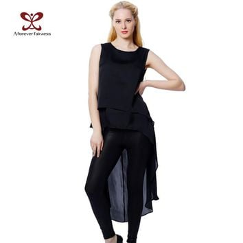 Women Tops Sleeveless Back Hollow Out Black Maxi Dovetail Asymmetry Kimono Sexy Chiffon Street Female Shirt Blouse