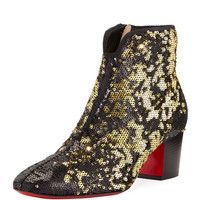 Christian Louboutin Disco Sequined Red Sole Bootie, Black/Gold