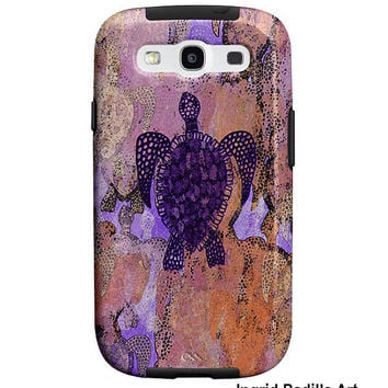 Sea turtle, Samsung Galaxy S3 Case, Galaxy S4 Case, Tough Case, whimsical Art, phone cases