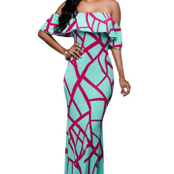 DL61Super deal african print dresses online shopping india off the shoulder african mermaid dresses for women print maxi dresses