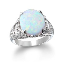 Cheryl M Sterling Silver CZ And Created White Opal Ring