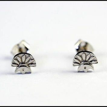 Solid white gold stud, tiny white gold stud earrings, egyptian white gold stud earring, fine jewelry, vintage post earring, egyptian jewelry
