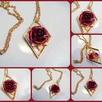 Gold Chain with Red Metal Rose Charm Antique Vintage