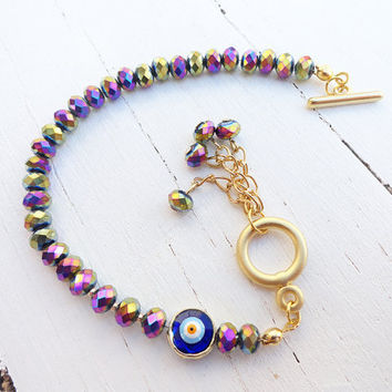 Metallic purple tone swarovski women bracelet with an evil eye - gold, girl, crysital, jewelry, birthday, christmas, xmas, flower, girl