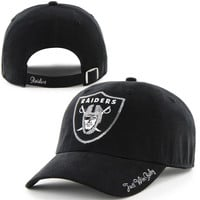 Women's Oakland Raiders '47 Brand Black Sparkle Clean Up Adjustable Hat
