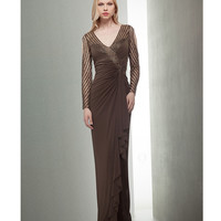 Fall 2014 Mignon VM1057 Bronze Long Sleeve V-Neck Chiffon Gown