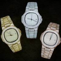 Men's Iced Out Luxury Stainless Steel Watch