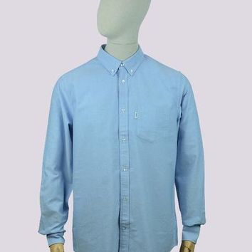 WeSC Oden Long Sleeve Relaxed Fit Shirt in Polar Blue