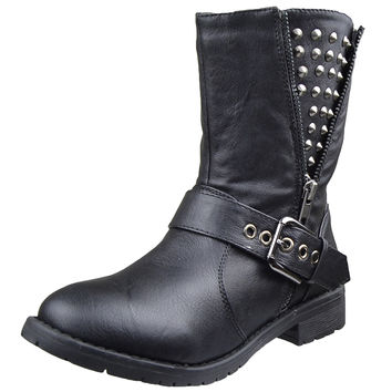 Womens Ankle Boots Spiked Zipper Combat Casual Comfort Shoes Black SZ
