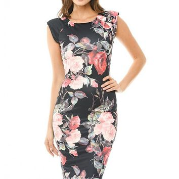 Women Dress Summer Elegant Floral Vestidos Printed Midi Wear To Work Business Casual Dress 1096