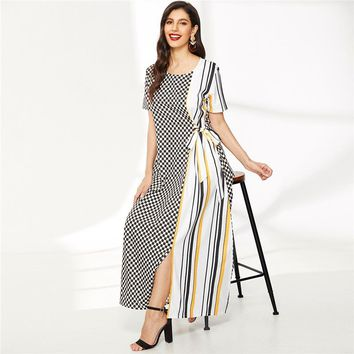 Contrast Gingham And Striped Print Knot-Side Dress Short Sleeve Dress Clothes For Women Dress