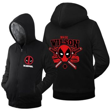 Deadpool Dead pool Taco 2017 spring winter new arrival warm fleece  men hoodie hip hop streetwear  hoodies Zip Up Sweatshirts coat AT_70_6