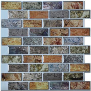 ONETOW Peel and Stick Kitchen Backsplash Wall Tiles 12in x 12in Sticker 6 Tiles/ pack