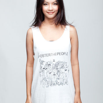 Foster the People Shirt Pumped Up Kicks Shirt Women Tank Top White Shirt Tunic Top Vest Sleeveless Women T-Shirt Size S M