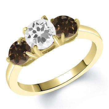 1.62 Ct Round White Quartz Brown Smoky Quartz 18K Yellow Gold Plated Silver Ring