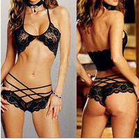 Hot Lace Sexy Women's Intimates Babydoll Lingerie Bra Thongs