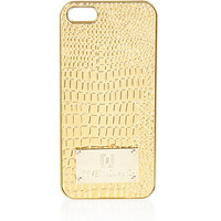 River Island Womens Gold croc embossed iPhone 5 case