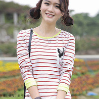 Kawaii Rabbit Stripes Pocket Long Sleeve Cotton Tee - Red Stripes or Blue Stripes - M L XL from Tobi's Finds
