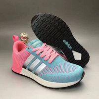 """Adidas NEO"" Fashion Casual Multicolor Stripe Knit Fly Line Surface Women Sneakers Running Shoes"