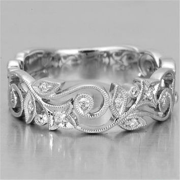 Exquisite Charm Women's 925 Sterling Silver Floral Ring Synthetic Diamond Flower Lucky Vine Leaf Cocktail Jewelry Proposal Gift