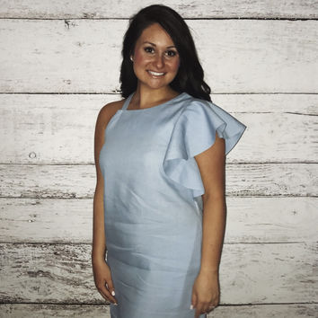 One Shoulder Ruffle Shift Dress- Light Blue