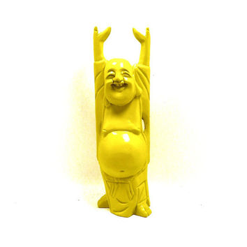 mustard yellow buddha statue, autumn home decor, pop art, upcycled figurines, zen, painted decor, buddhist, spiritual, wood carving