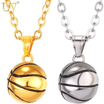 U7 Necklace Basketball Stainless Steel Hip Hop Pendant Sport Fans Gift, 22'' Link Chain, Gold Color Men Jewelry Necklaces P1096
